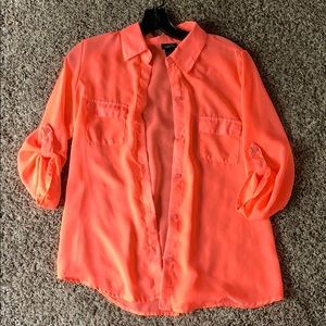 Button Down Neon Pink Top